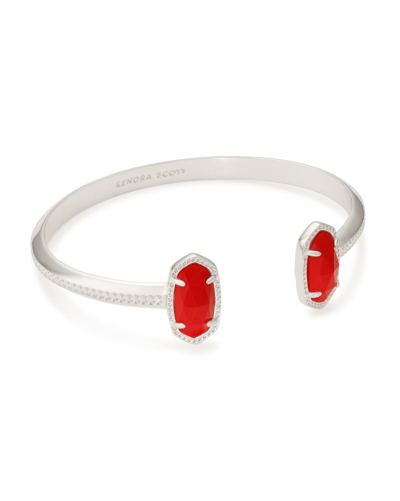 Elton Silver Cuff Bracelet in Bright Red Opaque Glass