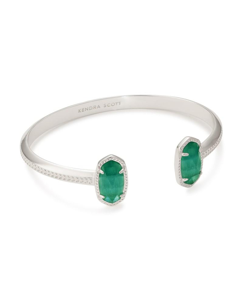 Elton Silver Cuff Bracelet in Emerald Cat's Eye