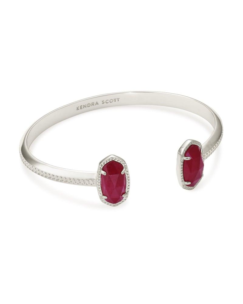 Elton Silver Cuff Bracelet in Maroon Jade