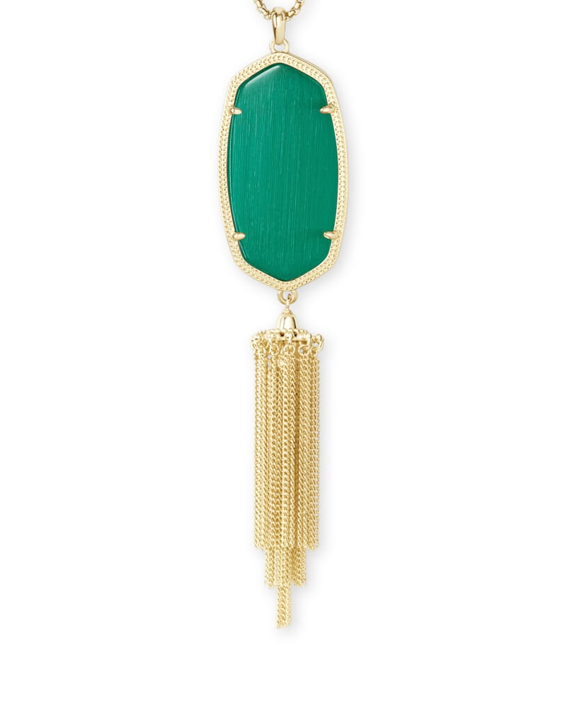 Rayne Gold Long Pendant Necklace in Emerald Cat's Eye