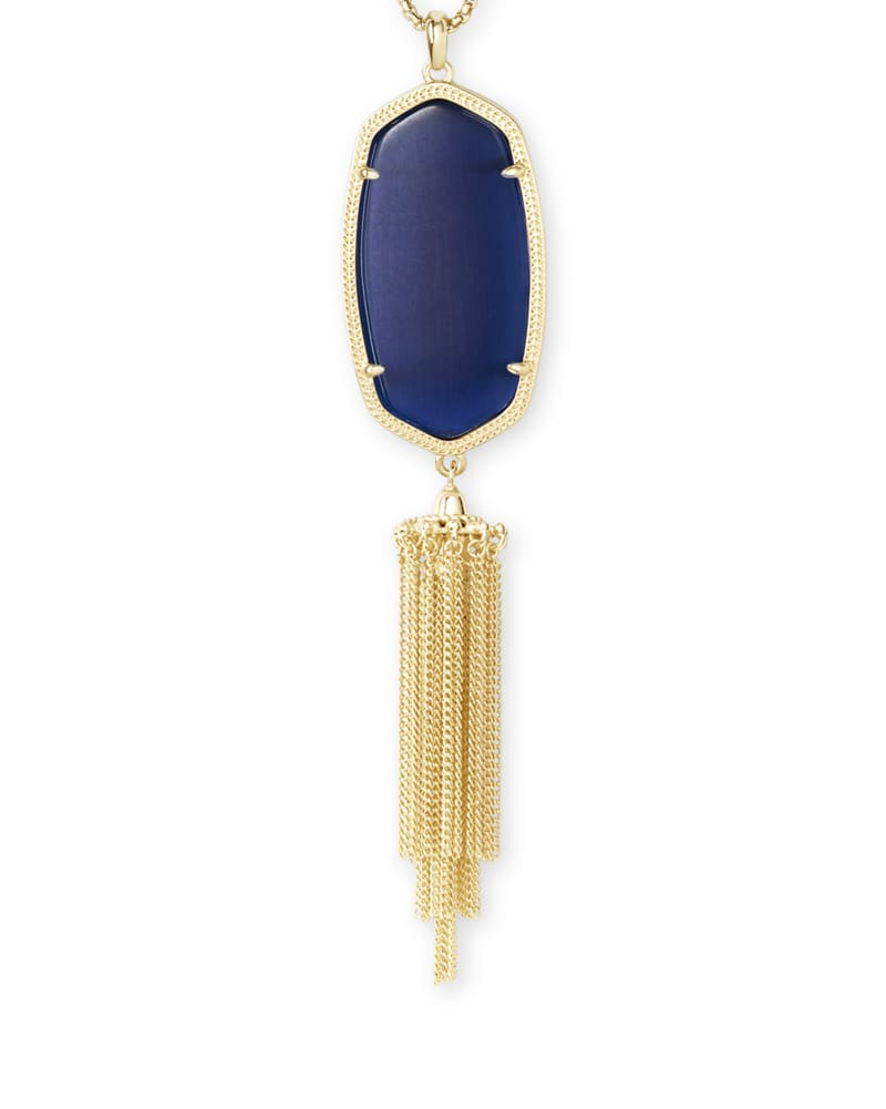 Rayne Gold Long Pendant Necklace in Navy Cat's Eye