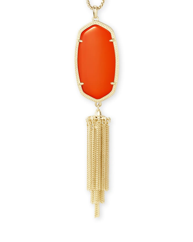 Rayne Gold Long Pendant Necklace in Orange Opaque Glass