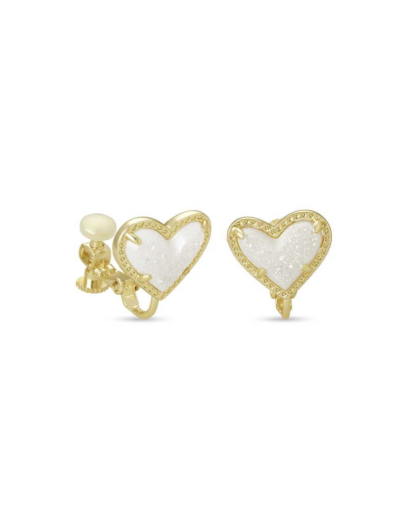 Ari Heart Gold Stud Clip On Earrings in Iridescent Drusy
