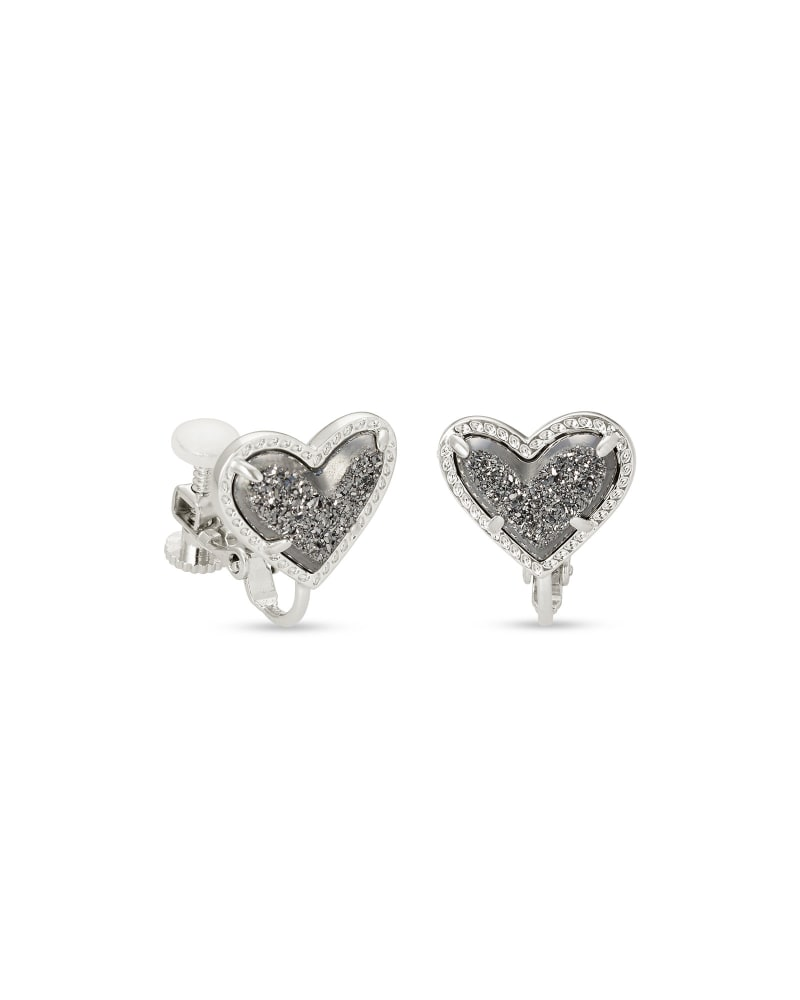 Ari Heart Silver Stud Clip On Earrings in Platinum Drusy