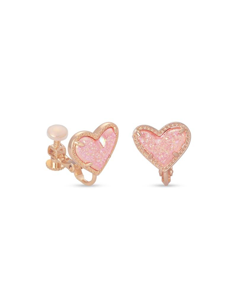 Ari Heart Rose Gold Stud Clip On Earrings in Light Pink Drusy
