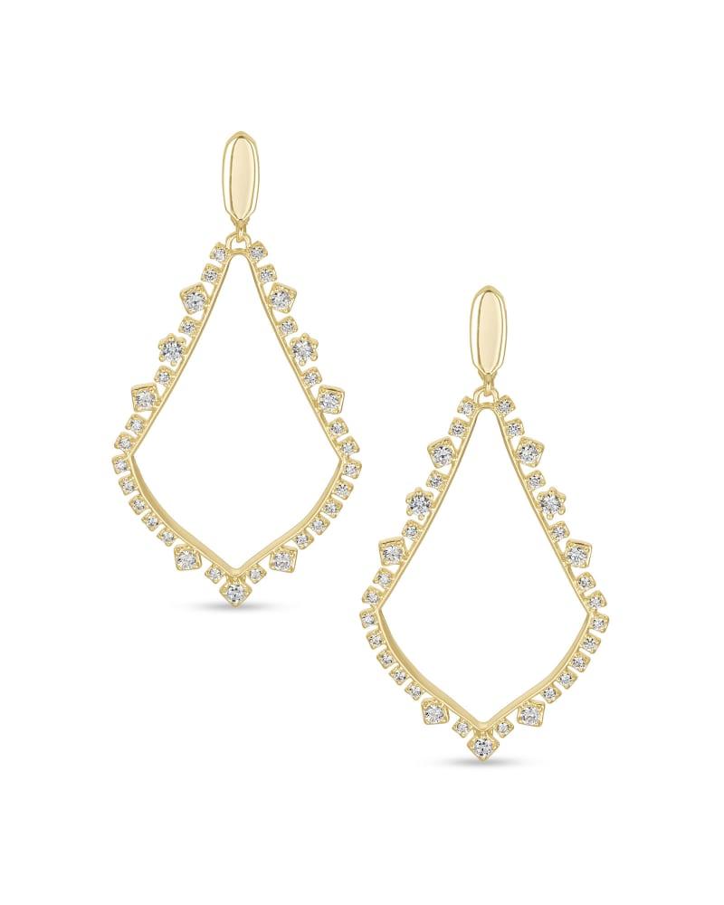 Sophee Crystal Clip-On Drop Earrings in Gold