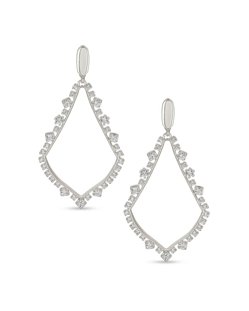 Sophee Crystal Clip-On Drop Earrings in Silver