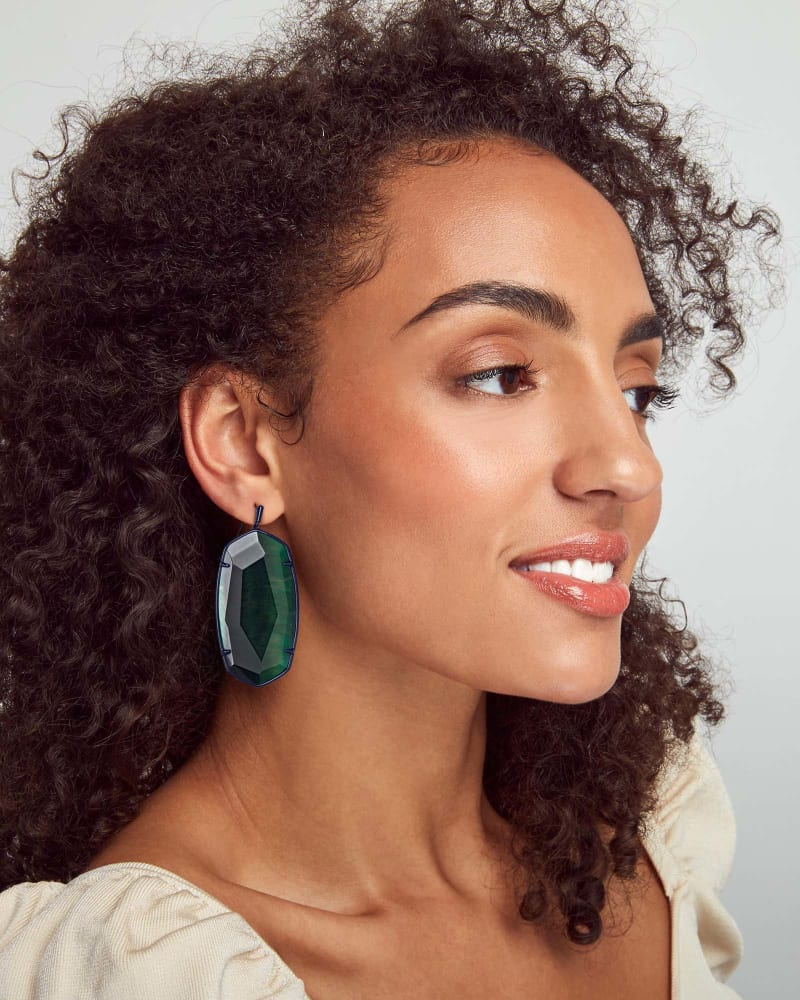 Faceted Danielle Gunmetal Statement Earrings in Green Tiger's Eye