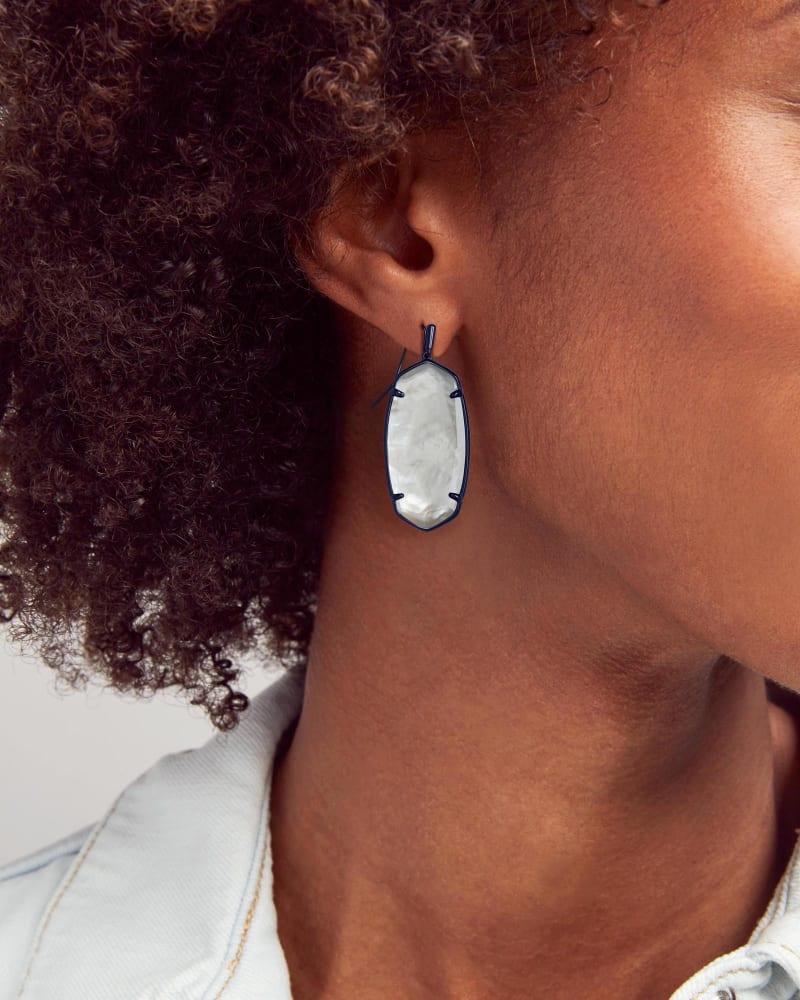 Faceted Elle Gunmetal Drop Earrings in Gray Illusion