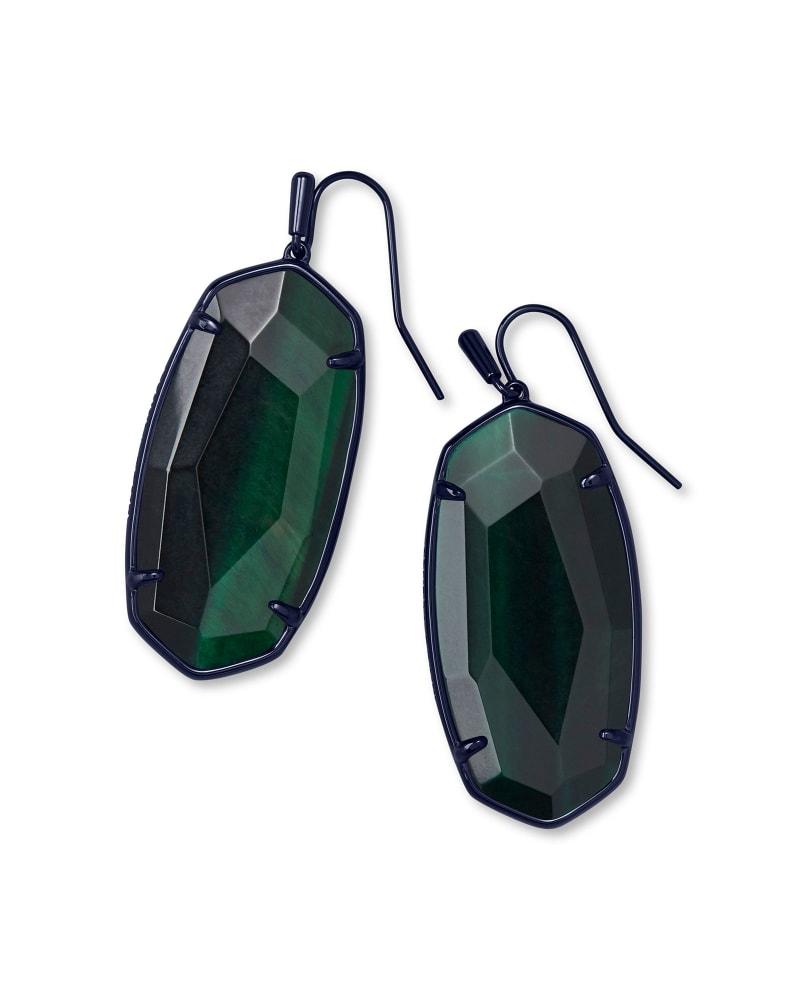 Faceted Elle Gunmetal Drop Earrings in Green Tiger's Eye