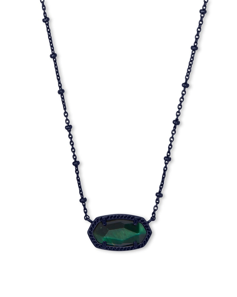 Elisa Gunmetal Satellite Pendant Necklace in Green Tiger's Eye