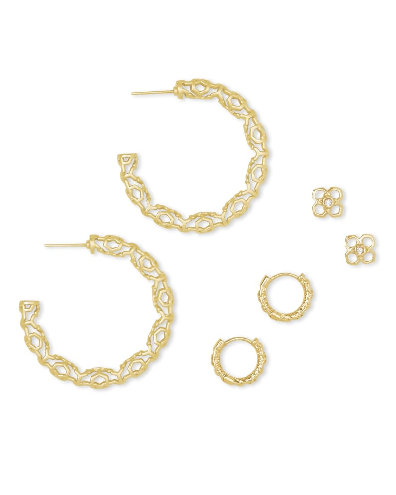 Maggie Small Hoops, Maggie Huggies, & Rue Studs Gift Set in Gold