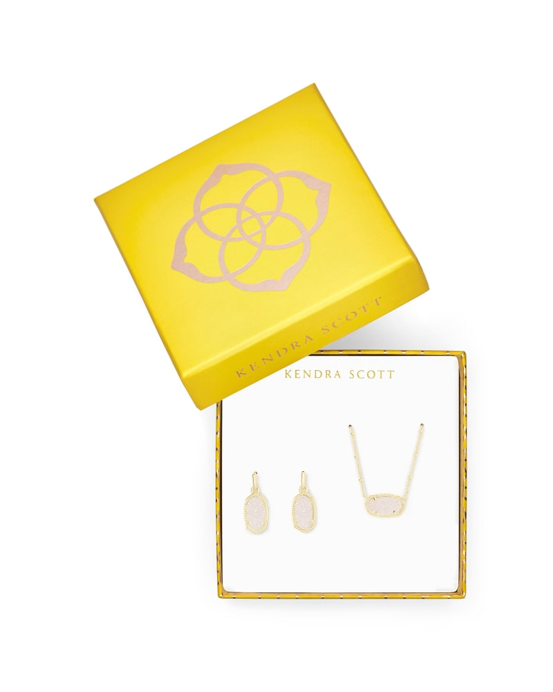 Elisa Satellite Necklace & Lee Earrings Gift Set in Iridescent Drusy