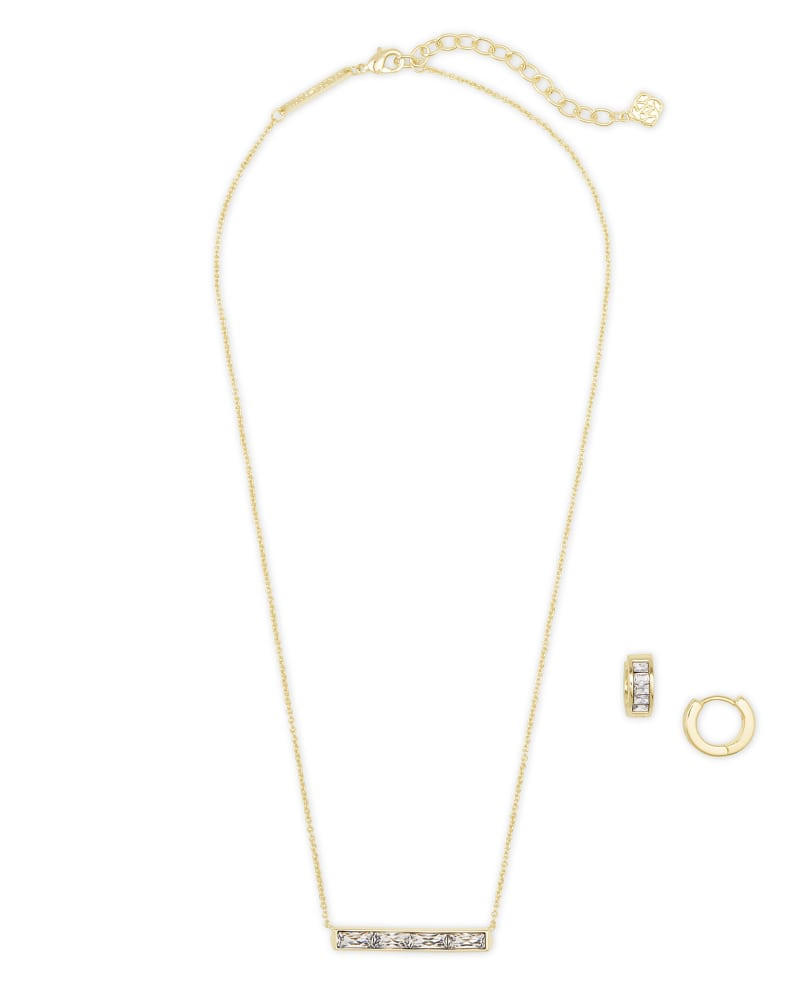 Jack Necklace & Earrings Gift Set in White Crystal