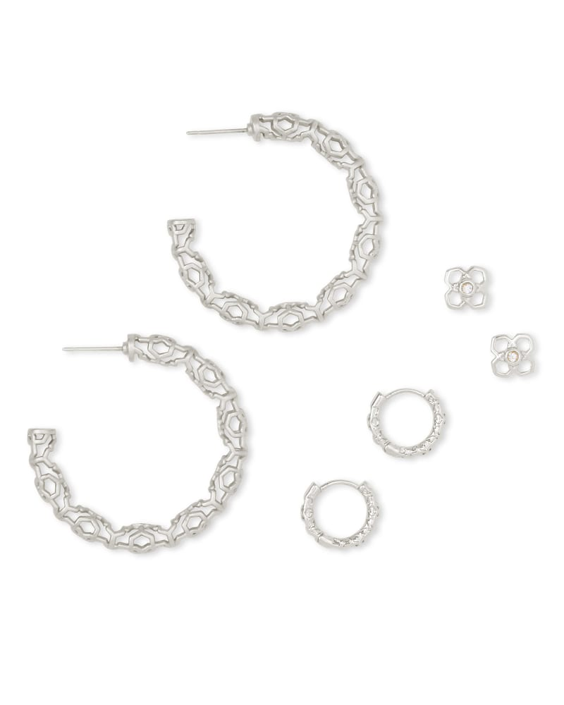 Maggie Small Hoops, Maggie Huggies, & Rue Studs Gift Set in Silver