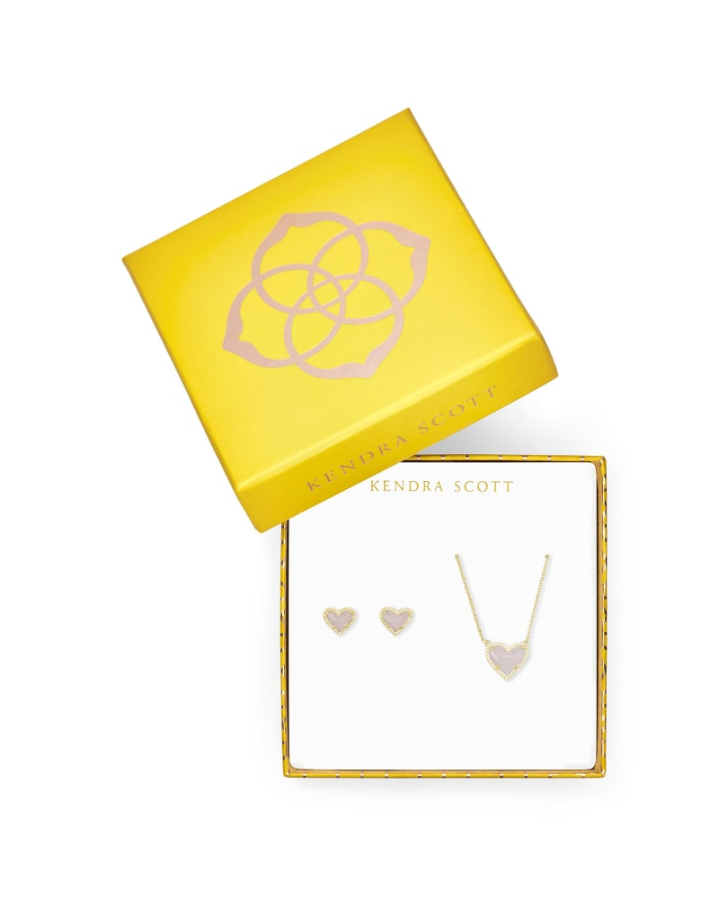 Ari Heart Necklace & Earrings Gift Set in Amethyst
