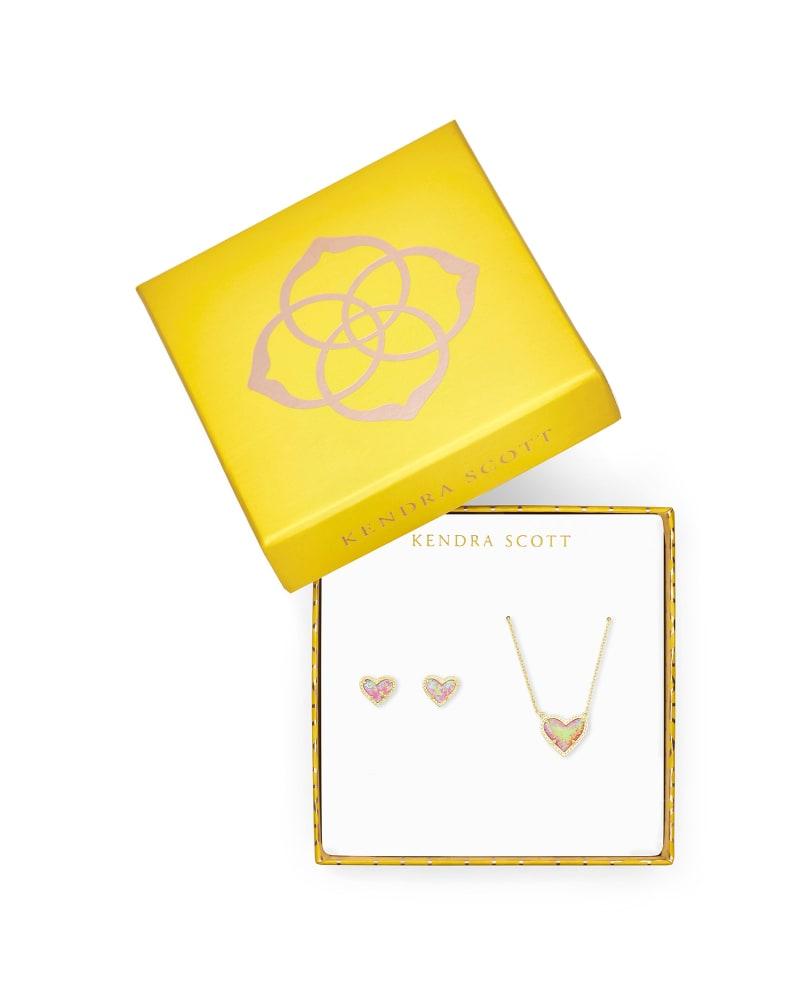 Ari Heart Necklace & Earrings Gift Set in Light Pink Kyocera Opal
