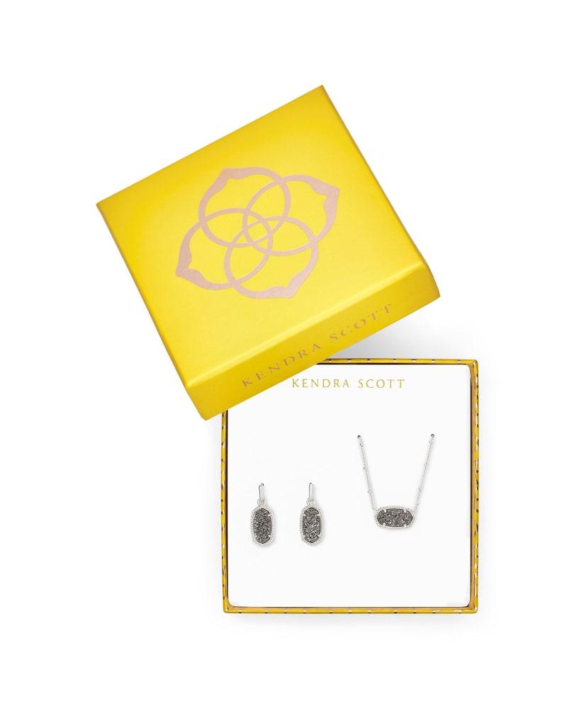 Elisa Satellite Necklace & Lee Earrings Gift Set in Platinum Drusy