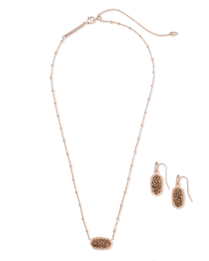 Rose Necklace And Earrings Gift Set