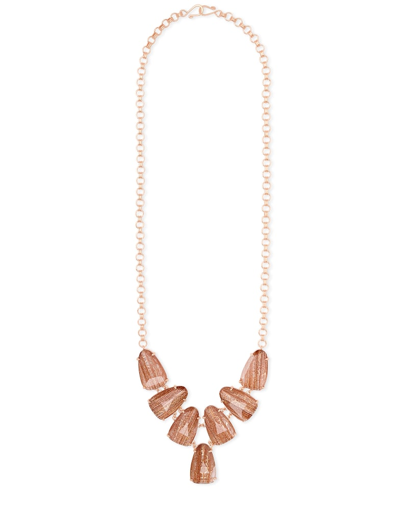 Harlie Rose Gold Statement Necklace in Gold Dusted Glass