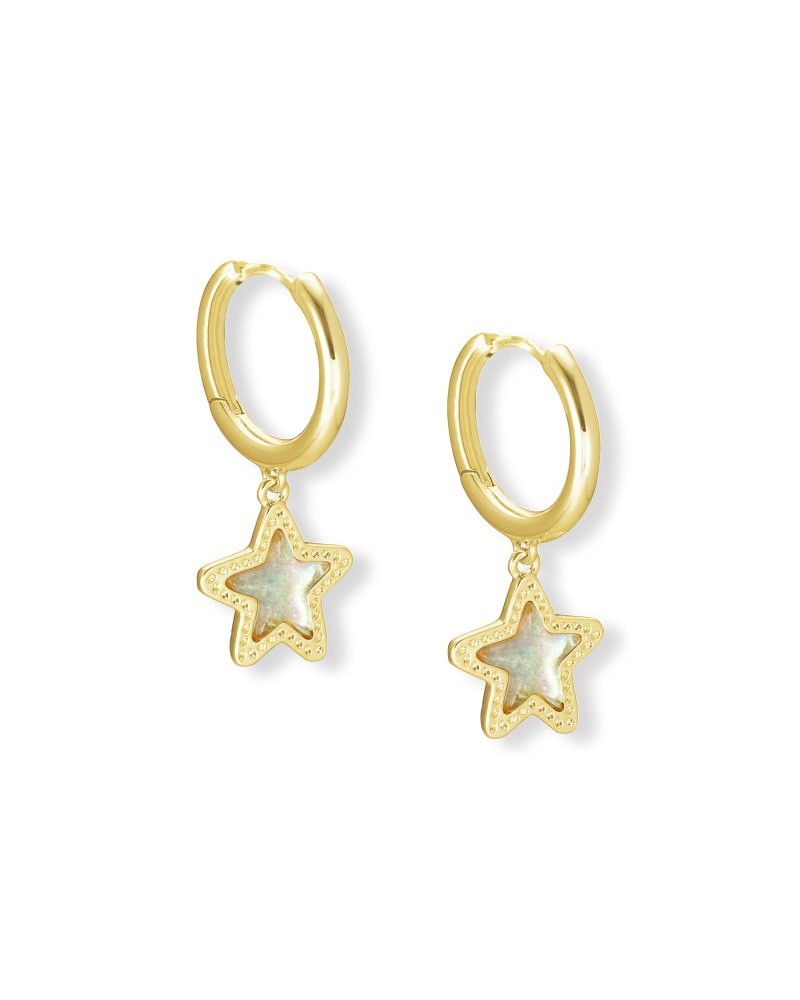 Jae Star Gold Huggie Earrings in Dichroic Glass