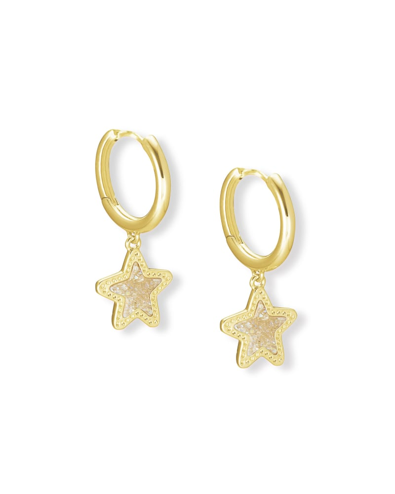Jae Star Gold Huggie Earrings in Iridescent Drusy