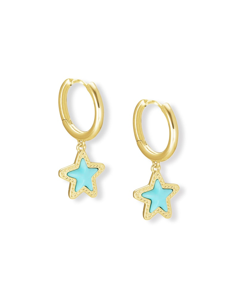 Jae Star Gold Huggie Earrings in Light Blue Magnesite