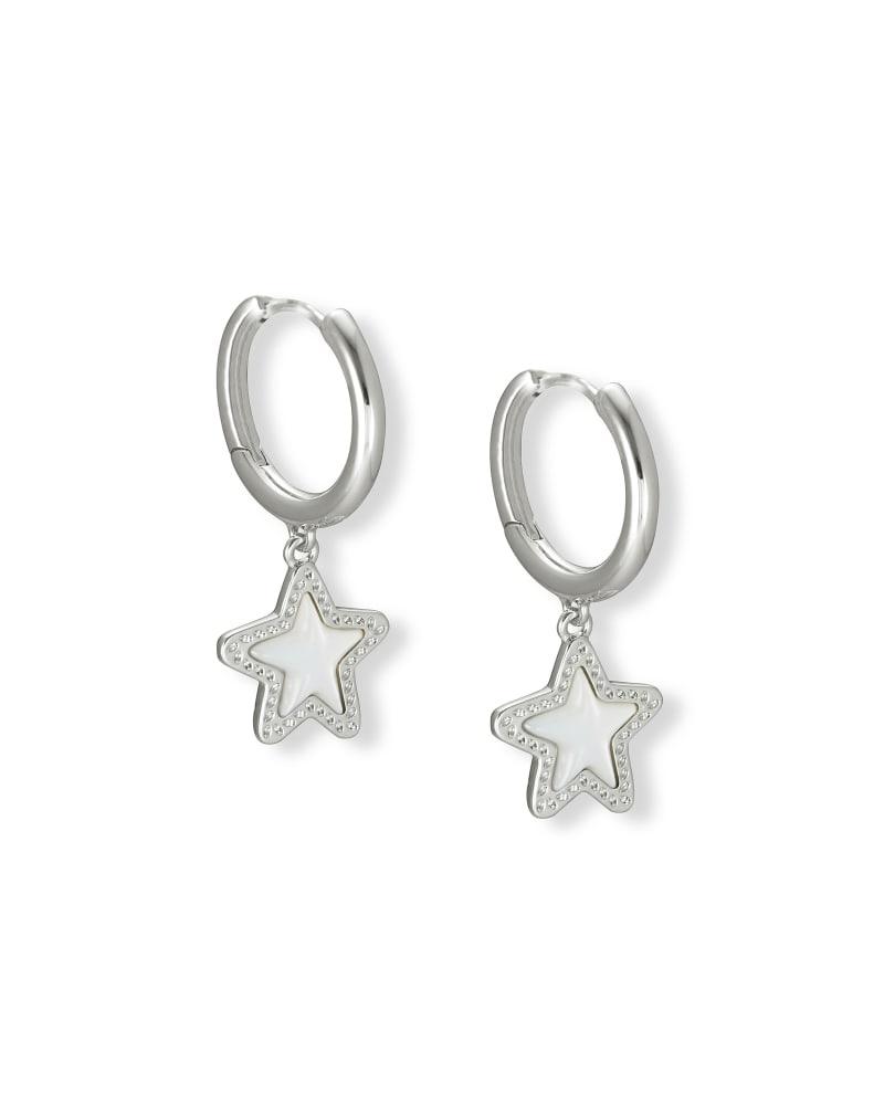 Jae Star Silver Huggie Earrings in Ivory Mother-of-Pearl
