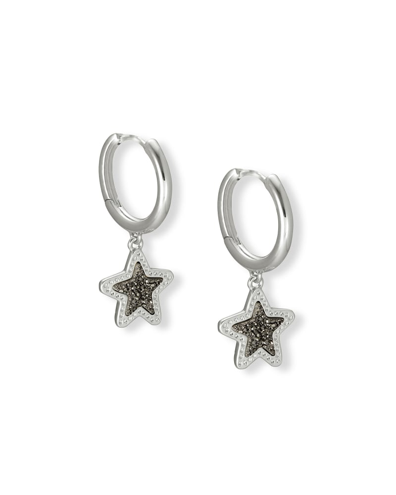 Jae Star Silver Huggie Earrings in Platinum Drusy