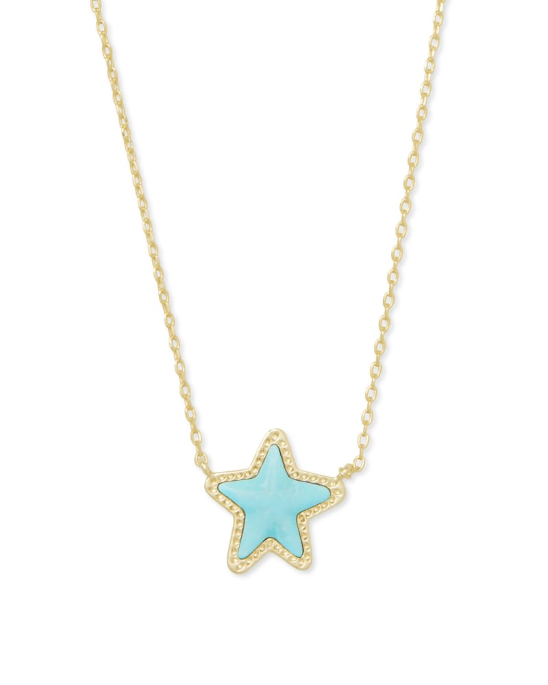 Jae Star Gold Pendant Necklace in Light Blue Magnesite   Kendra Scott