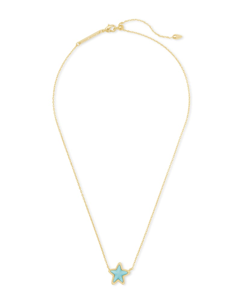Jae Star Gold Pendant Necklace in Light Blue Magnesite