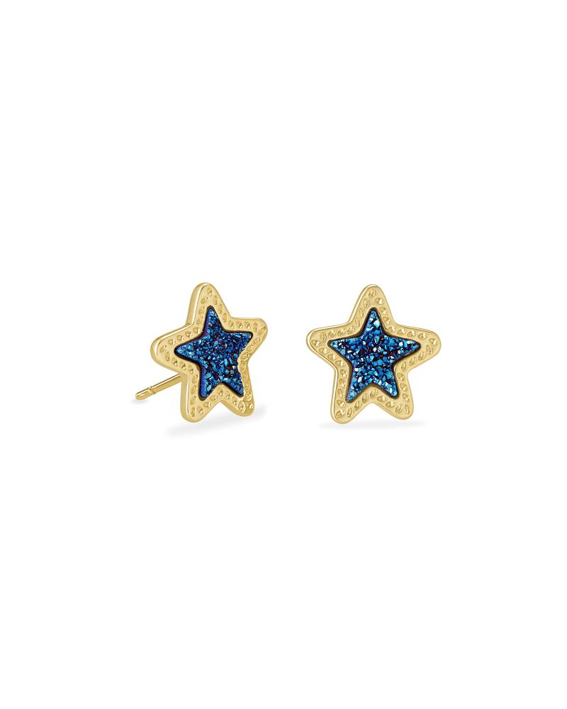 Jae Star Gold Stud Earrings in Blue Drusy   Kendra Scott