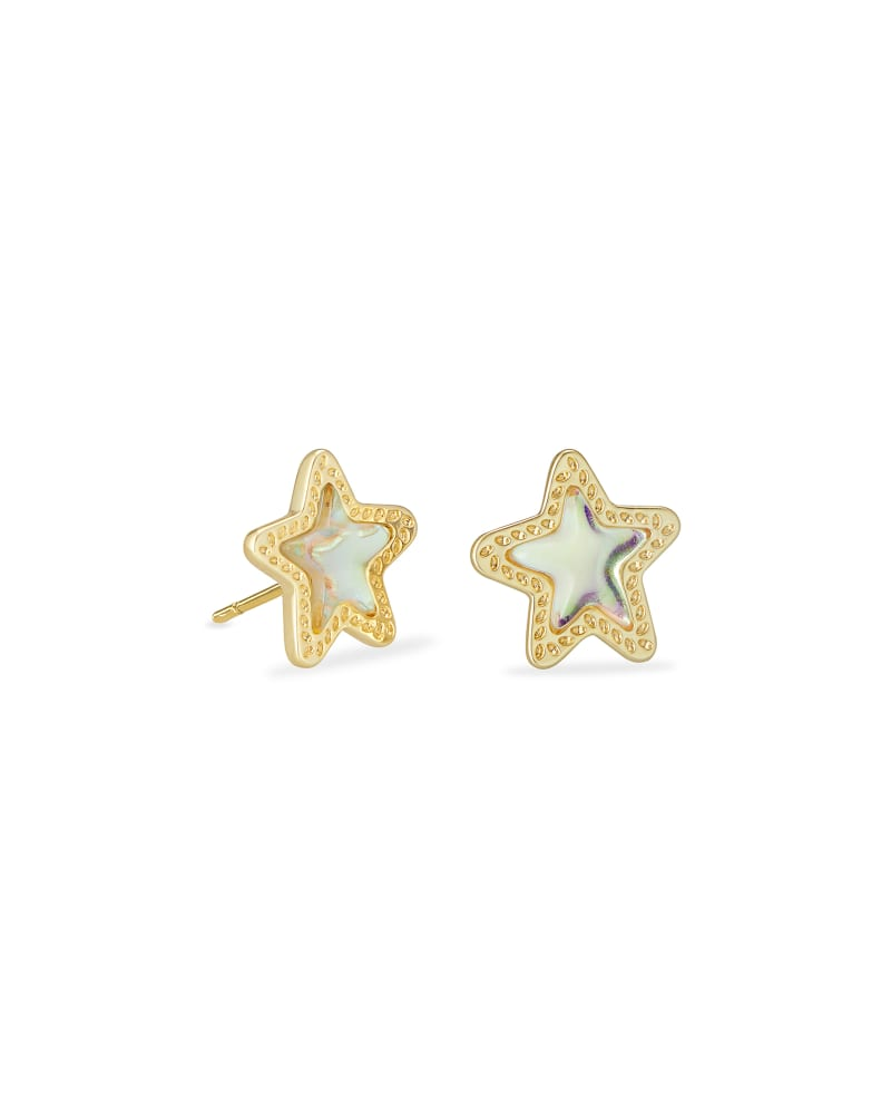 Jae Star Gold Stud Earrings in Dichroic Glass | Kendra Scott