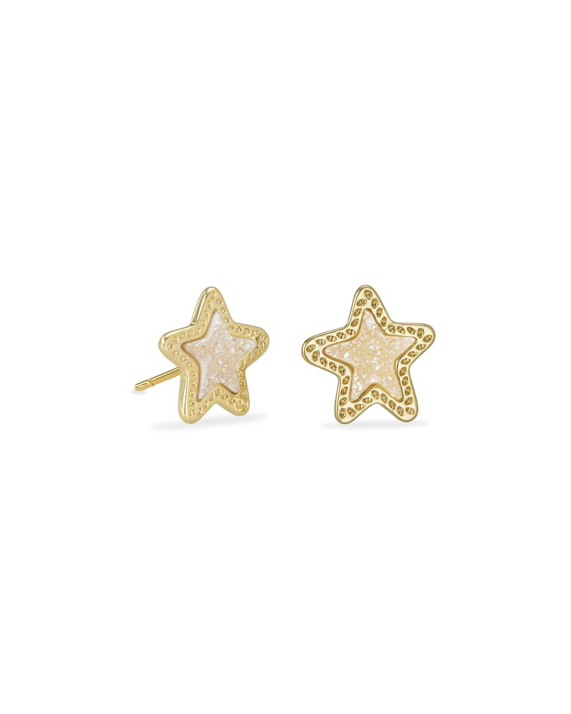 Jae Star Gold Stud Earrings in Iridescent Drusy   Kendra Scott