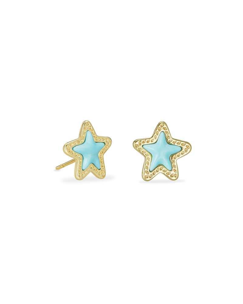 Jae Star Gold Stud Earrings in Light Blue Magnesite