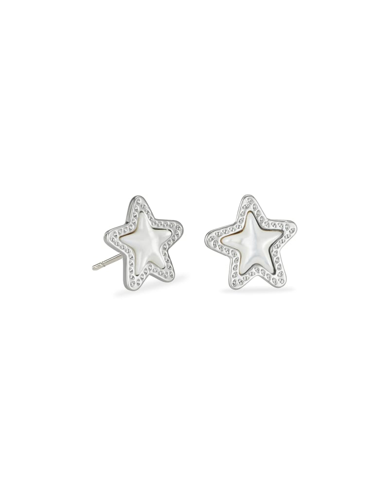 Jae Star Silver Stud Earrings in Ivory Mother-of-Pearl