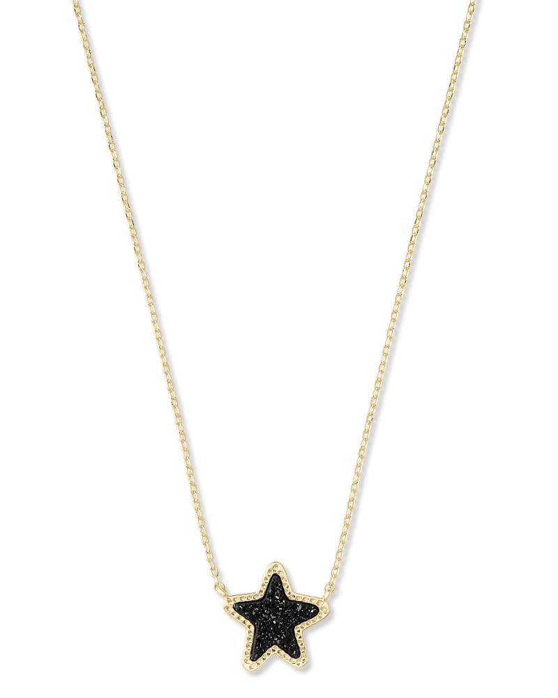Jae Star Gold Pendant Necklace in Black Drusy   Kendra Scott