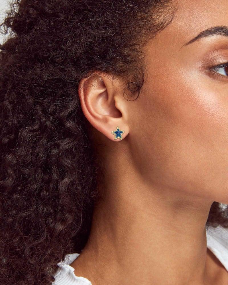 Jae Star Gold Stud Earrings in Blue Drusy