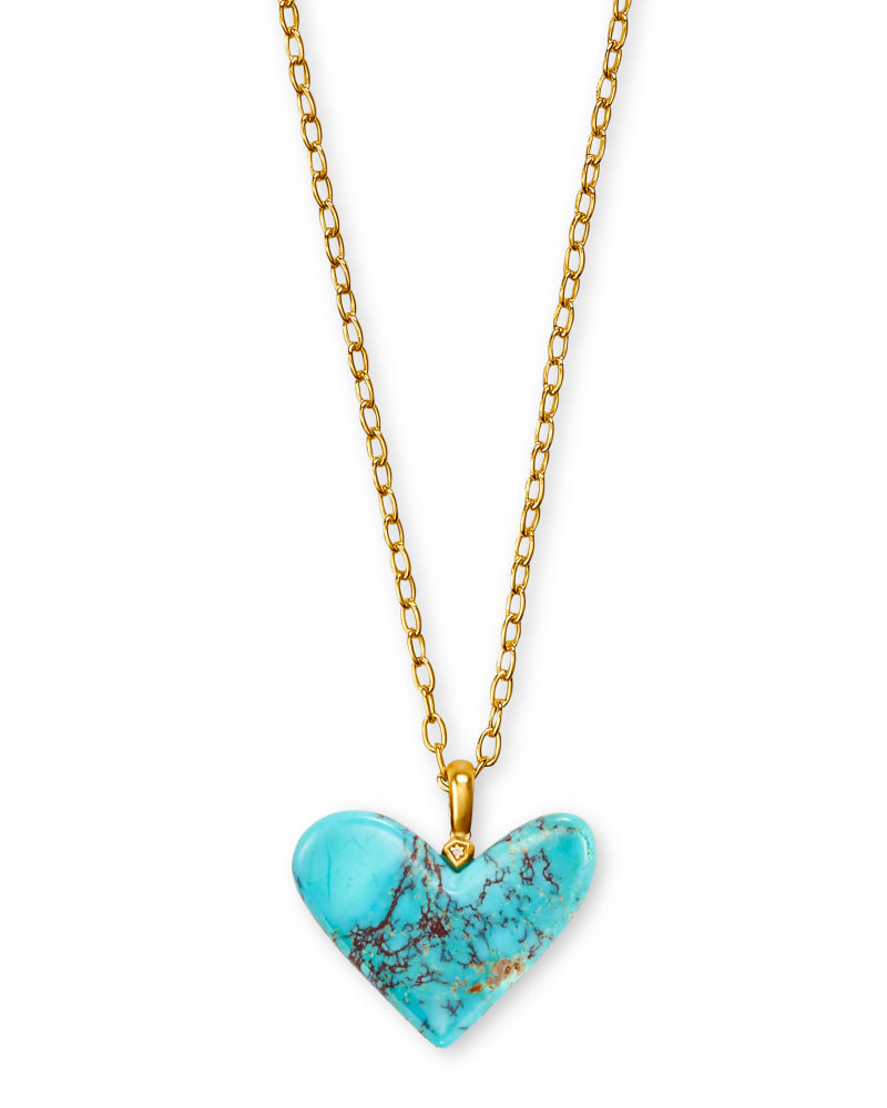 Poppy Heart Vintage Gold Long Pendant Necklace in Turquoise
