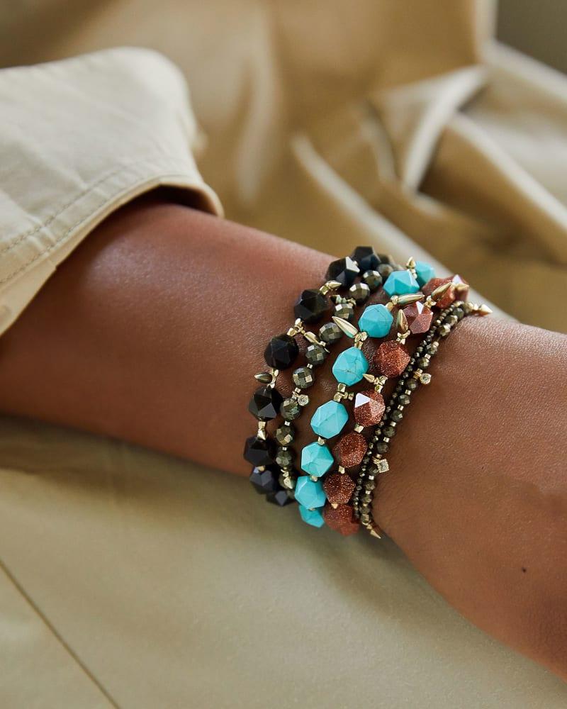 Sadie Gold Stretch Bracelet in Labradorite
