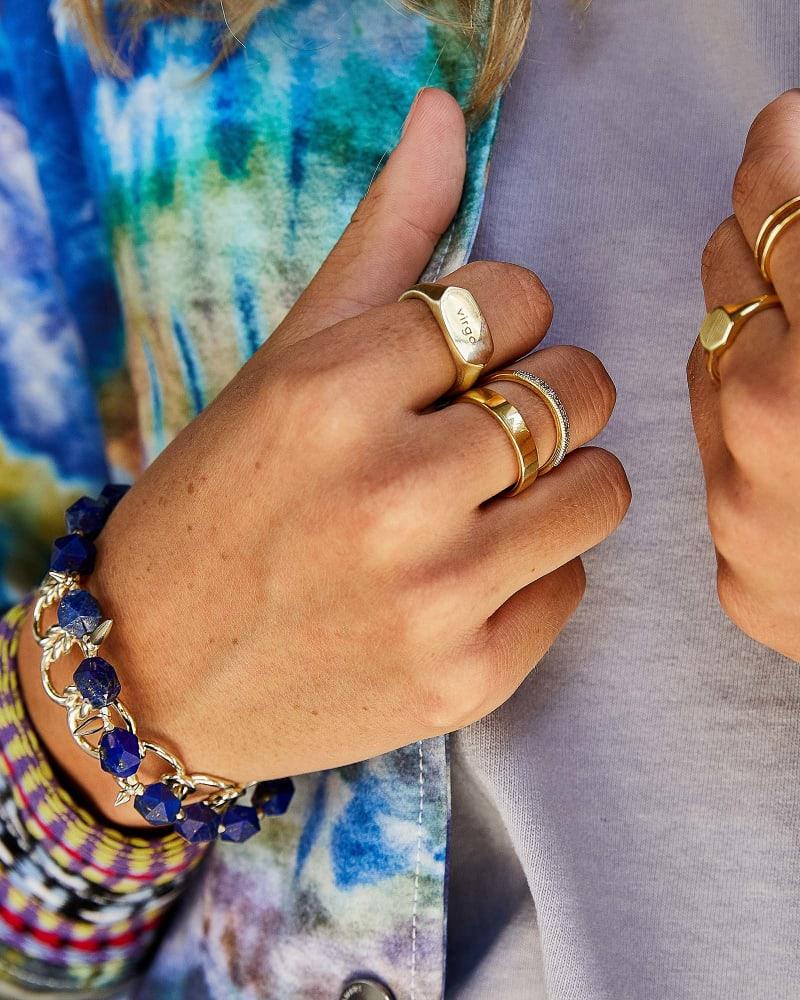 Sadie Gold Stretch Bracelet in Blue Lapis