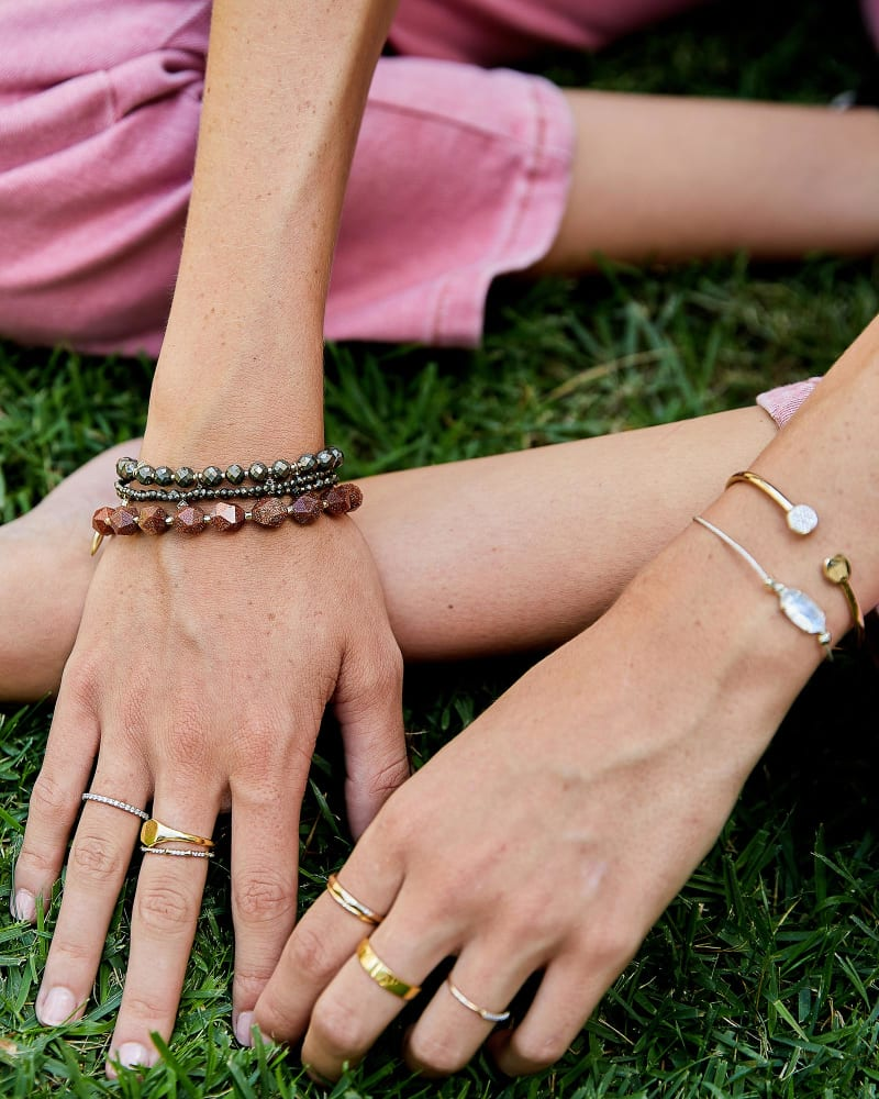 Sadie Gold Stretch Bracelet in Orange Goldstone