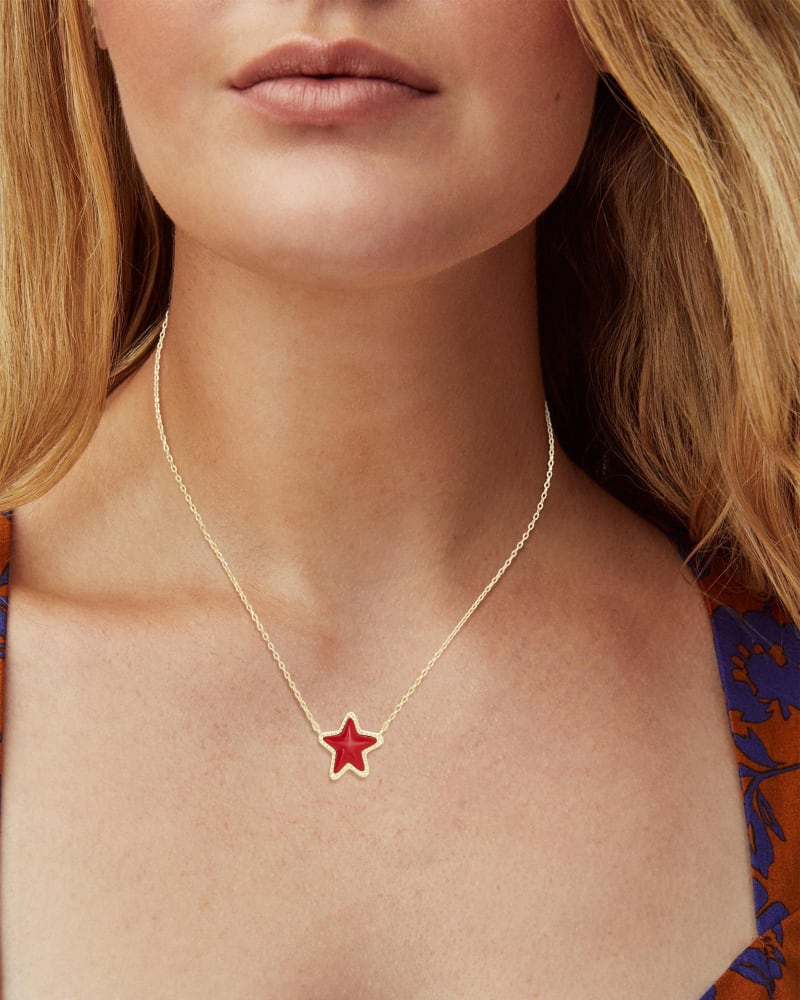 Jae Star Gold Necklace in Bright Red Glass