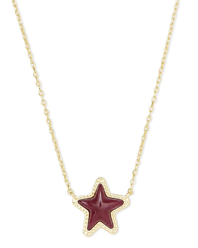 Jae Star Gold Pendant Necklace in Maroon Jade