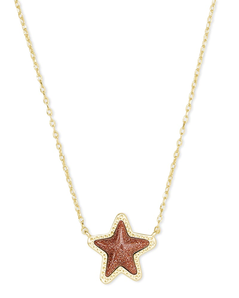 Jae Star Gold Pendant Necklace in Orange Goldstone