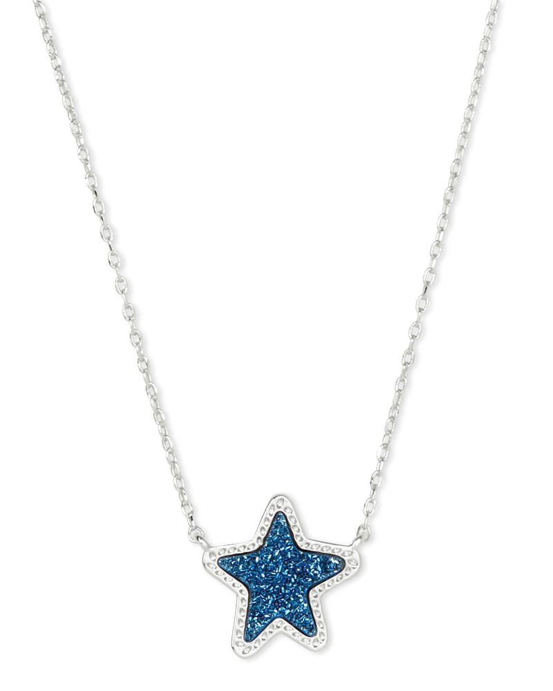 Jae Star Silver Pendant Necklace in Blue Drusy