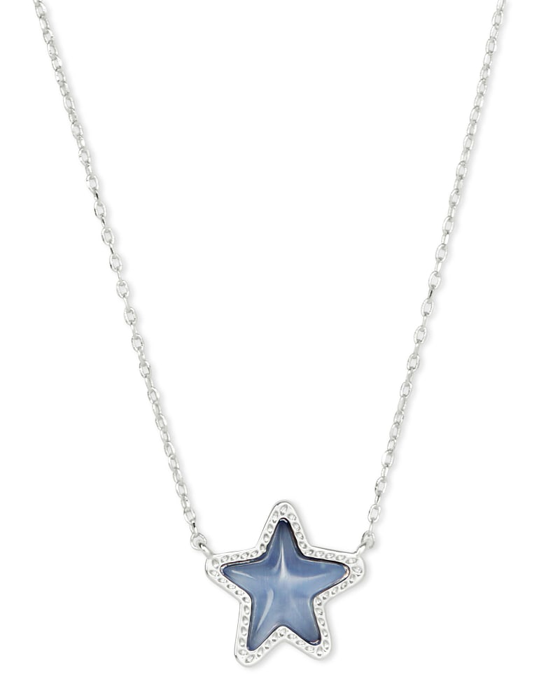 Jae Star Silver Necklace in Periwinkle Cat's Eye
