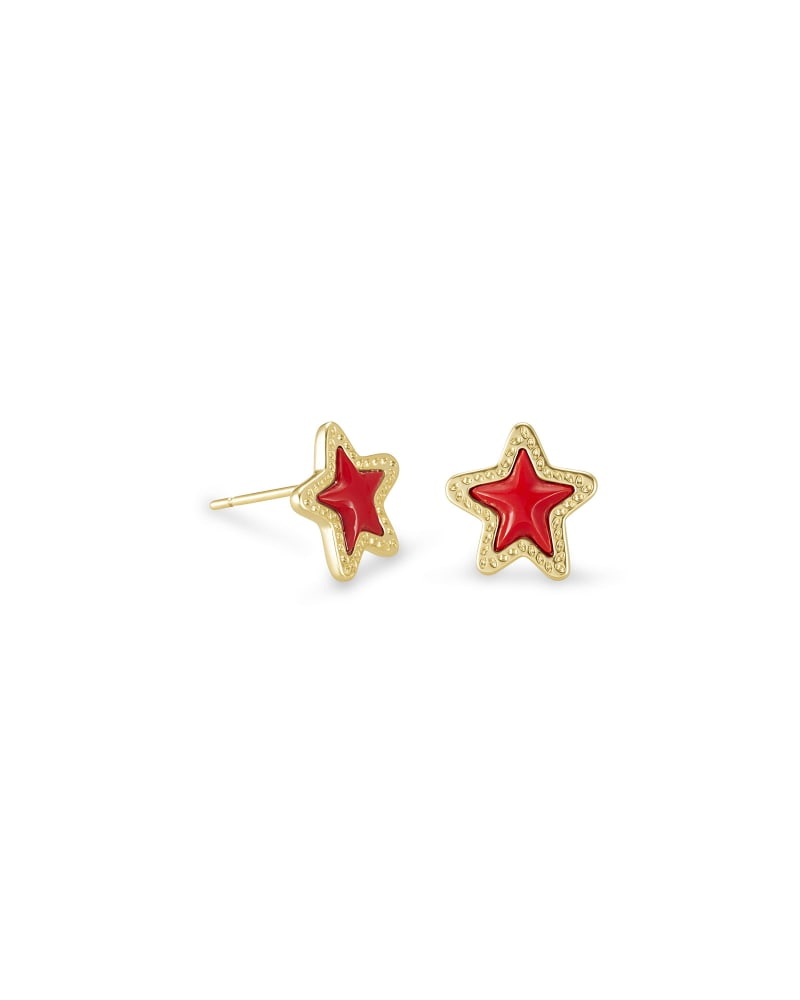 Jae Star Gold Stud Earrings in Bright Red Glass