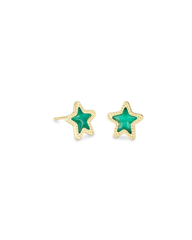 Jae Star Gold Stud Earrings in Emerald Cat's Eye