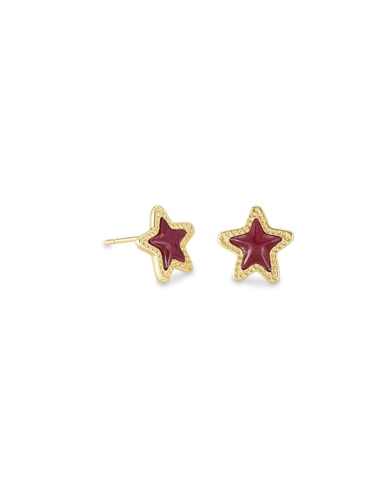 Jae Star Gold Stud Earrings in Maroon Jade